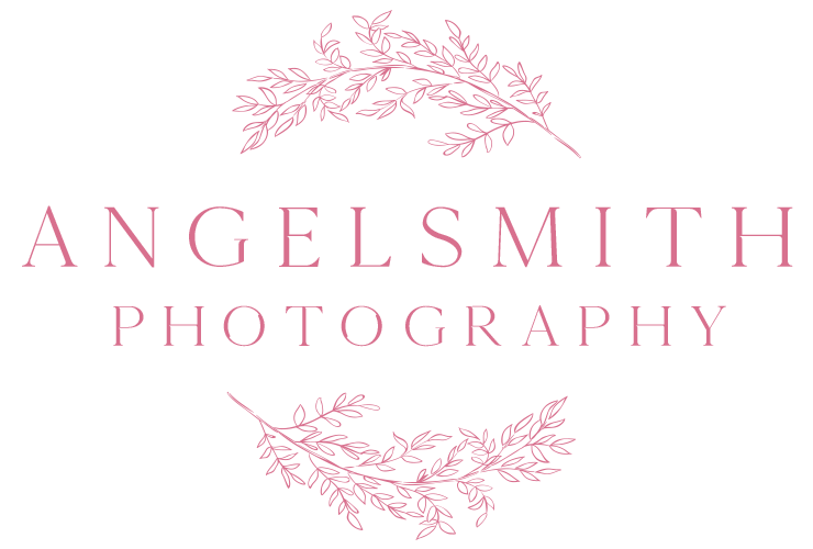 Angelsmith Photography Logo - Pink, Circular Foliage around text