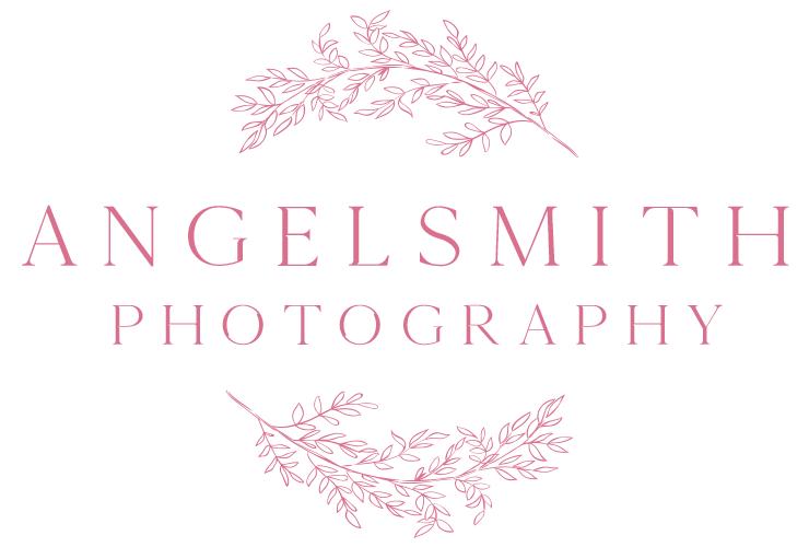 Angelsmith Photography Logo - Pink, Circular Foliage around text